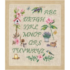 Counted cross stitch kit Garden alphabet