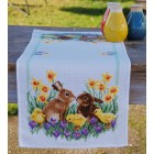 Aida table runner kit Rabbits with chicks