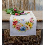 Aida table runner kit Colourful flowers