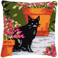 Cross stitch cushion kit Cat between flowers