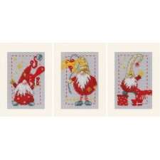 Greeting card kit Christmas gnomes set of 3