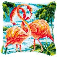 Latch hook cushion kit Flamingos