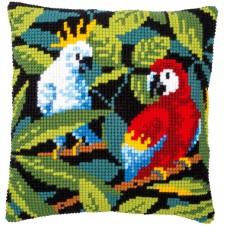 Cross stitch cushion kit Tropical birds