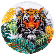 Latch hook shaped rug kit Tiger with jungle leaves
