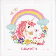 Counted cross stitch kit Mother and baby unicorn