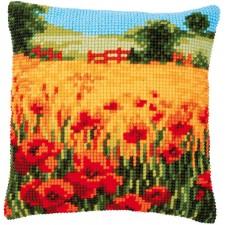 Cross stitch cushion kit Poppies landscape