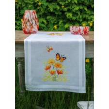 Table runner kit Orange flowers and butterflies