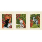 Greeting card kit Cats between flowers set of 3