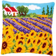 Cross stitch cushion kit Sunflower field