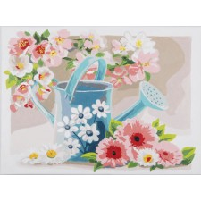 Paint by Number kit Watering can with flowers