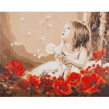 Paint by Number kit Girl in a poppy field