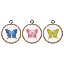Embroidery kit with ring Butterflies set of 3