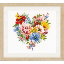 Counted cross stitch kit Heart of flowers