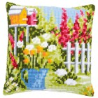 Cross stitch cushion kit In my garden