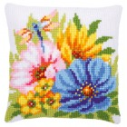 Cross stitch cushion kit Colourful spring flowers