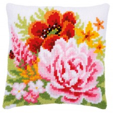 Cross stitch cushion kit Colourful flowers