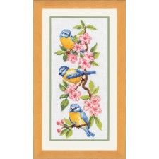 Counted cross stitch kit Birds on blossoms