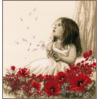 Counted cross stitch kit Girl in a poppy field