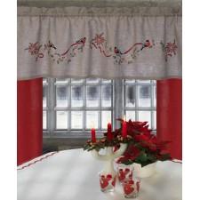 Goudvinkjes op kerst gordijn - Bullfinches & Christmas Pelmet