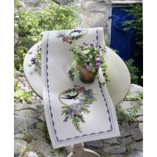 Tafelloper vogel en blauwe bloemen - Bird and Blue Flowers Runner