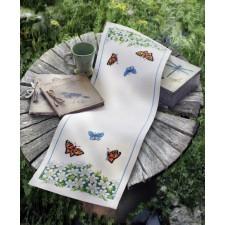 Tafelloper vlinders en witte anemonen - White Anemones and Butterflies Runner
