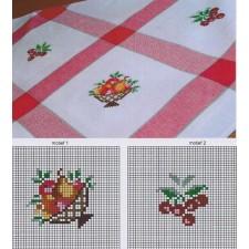 Tafelkleedje vierkanten rood-wit