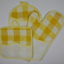 Keukenset ovenwant en pannenlappen geel