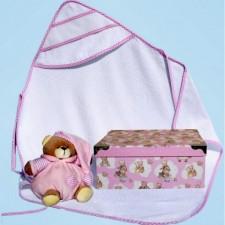 Geschenkdoos omslagdoek/konijntje/slabbetje roze