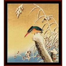 Kingfisher on Snow Stump