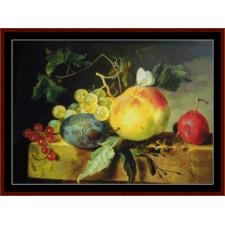 Still Life w/Fruit on Marble Plinth
