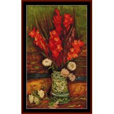 Vase iwth Red Gladiolas