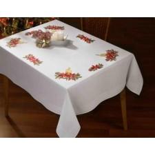 Tafelkleed kerstbloemen met kaars