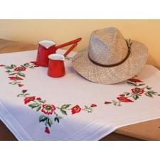 Tafelkleedje rode bloemen