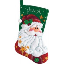 Kerstsok Santa vilt (Sequined Santa Stocking)