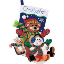 Kerstsok Sleetje rijden vilt (Toboggan Trio Stocking)