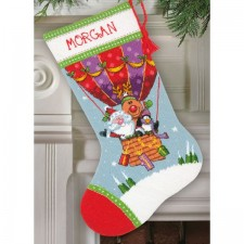 Kerstsok Santa's Ballonvlucht - Santa's Balloon Ride Stocking