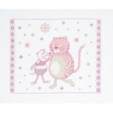 Geboortetegel poes en muis roze