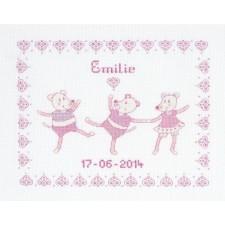 Geboortetegel muizen roze: Emilie