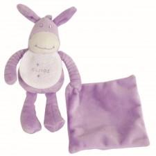 Pluche ezel knuffel mauve (DOUDOU ÂNE PARME - Donkey soft plush mauve)