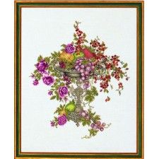 Kelk met fruit en bloemen (Epergne W.fruits)