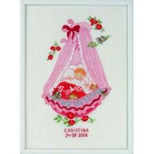 Geboortetegel Christina: roze wieg (baby cradle: girl)