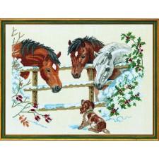 Paarden met hondje