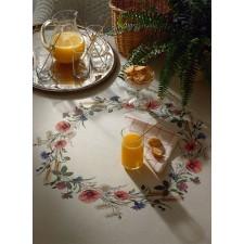 Tafelkleed bloemenkrans met klaprozen - Wreth w/poppies