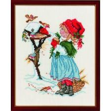 Kerst: meisje bij vogelhuisje (girl with birdhouse)
