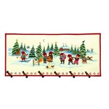 Kerstwandkleed Elfen in de sneeuw - Elfs in snow