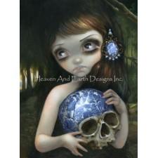 Mini Blue Willow Skull