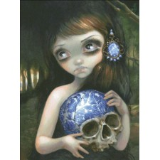 Blue Willow Skull