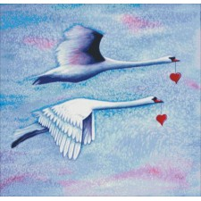 2 Swans Flying With Hearts
