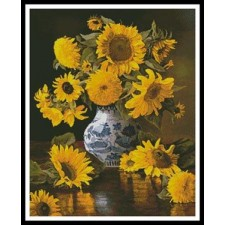 Sunflowers in a Blue and White Vase - #11301-INT