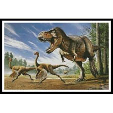 TRex attacking Struthiomimus Dinosaurs - #11372